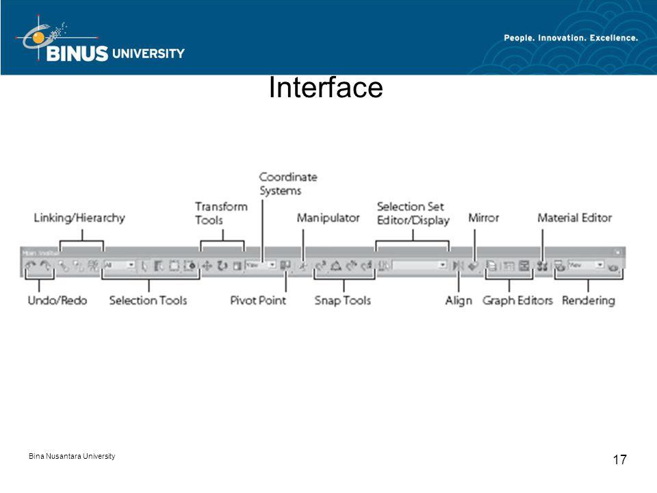 Bina Nusantara University 17 Interface
