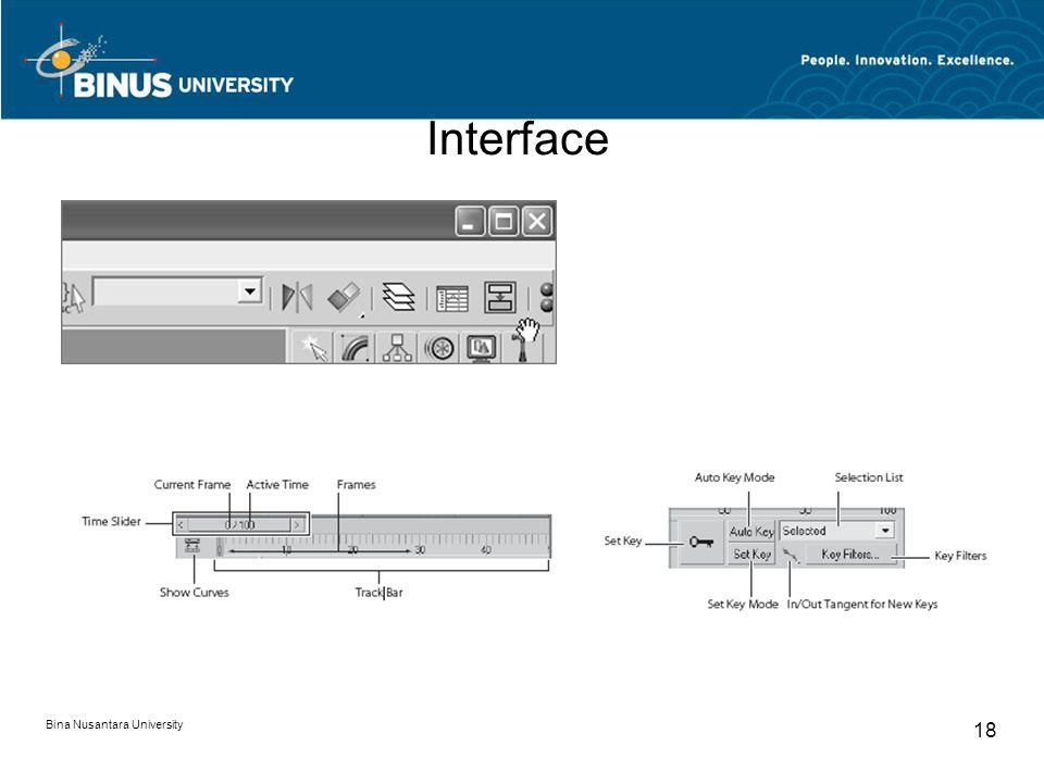 Bina Nusantara University 18 Interface