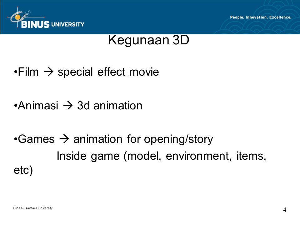 Bina Nusantara University 4 Kegunaan 3D Film  special effect movie Animasi  3d animation Games  animation for opening/story Inside game (model, environment, items, etc)