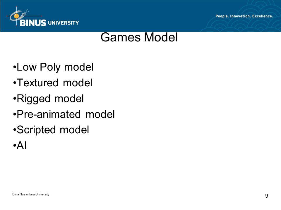 Bina Nusantara University 9 Games Model Low Poly model Textured model Rigged model Pre-animated model Scripted model AI