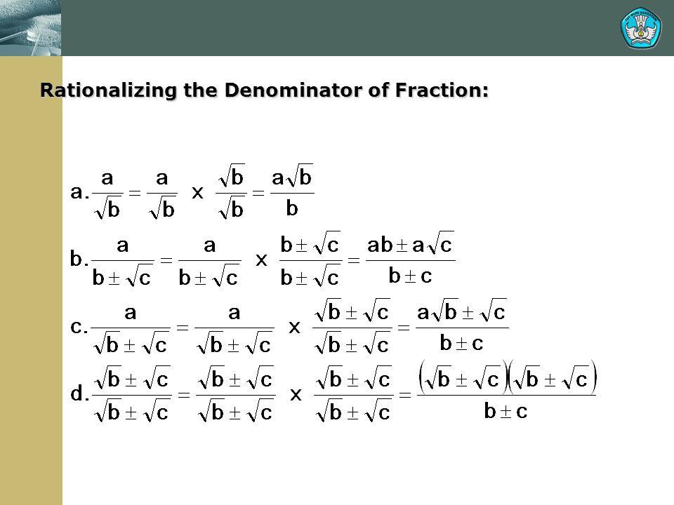 Rationalizing the Denominator of Fraction:
