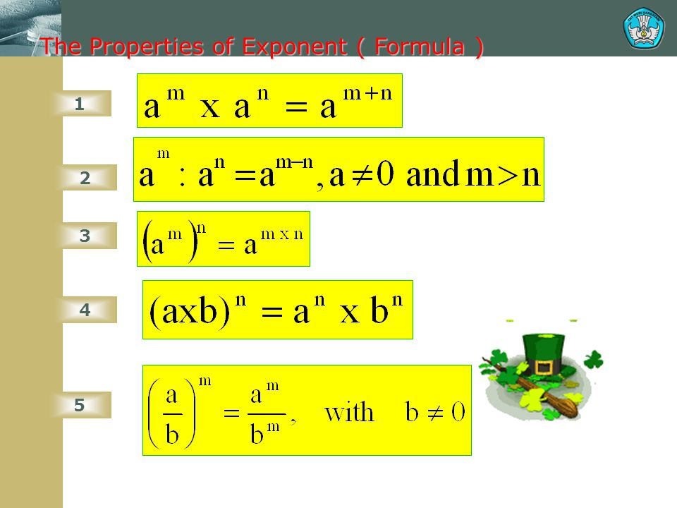 The Properties of Exponent 6 7 8 9