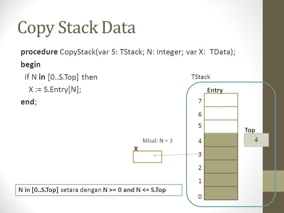 Copy Stack Data procedure CopyStack(var S: TStack; N: Integer; var X: TData); begin if N in [0..S.Top] then X := S.Entry[N]; end; 0 1 2 3 4 5 6 7 4 To