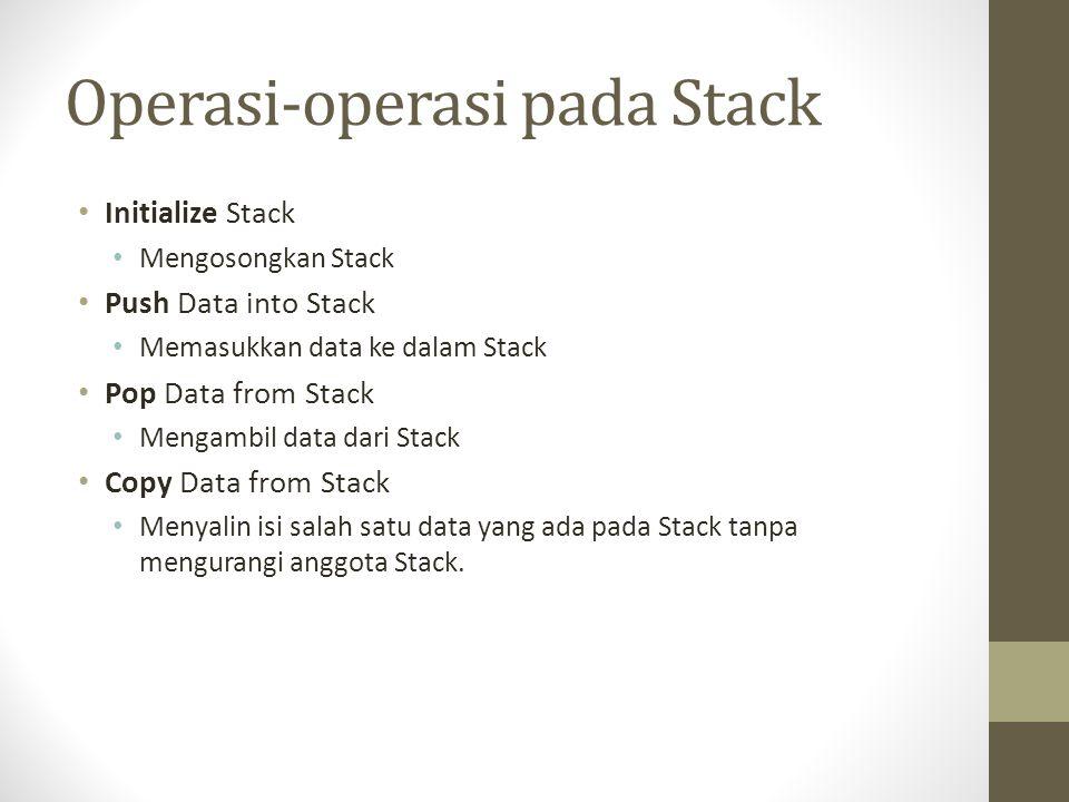 Operasi-operasi pada Stack Initialize Stack Mengosongkan Stack Push Data into Stack Memasukkan data ke dalam Stack Pop Data from Stack Mengambil data dari Stack Copy Data from Stack Menyalin isi salah satu data yang ada pada Stack tanpa mengurangi anggota Stack.