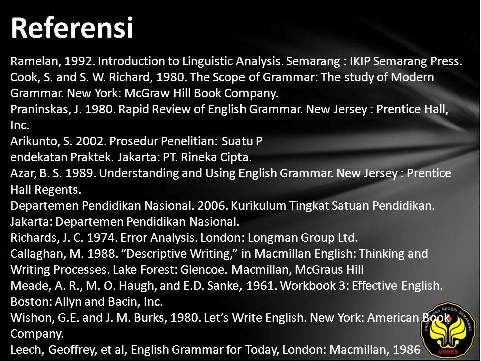Referensi Ramelan, 1992. Introduction to Linguistic Analysis.