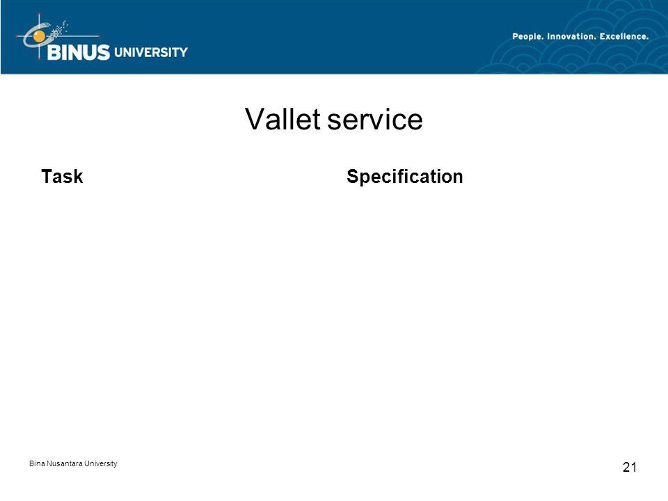 Bina Nusantara University 21 Vallet service TaskSpecification