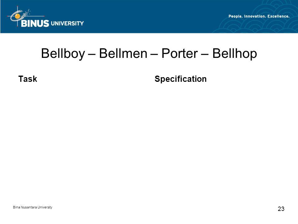 Bina Nusantara University 23 Bellboy – Bellmen – Porter – Bellhop TaskSpecification