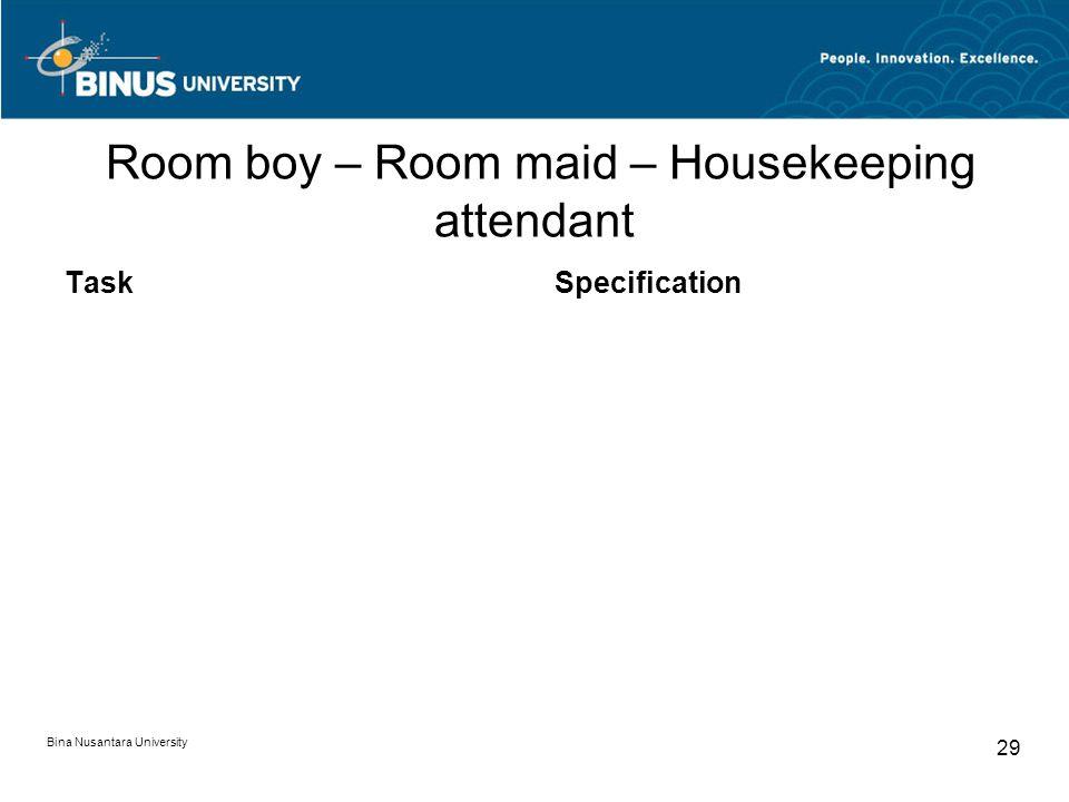 Bina Nusantara University 29 Room boy – Room maid – Housekeeping attendant TaskSpecification