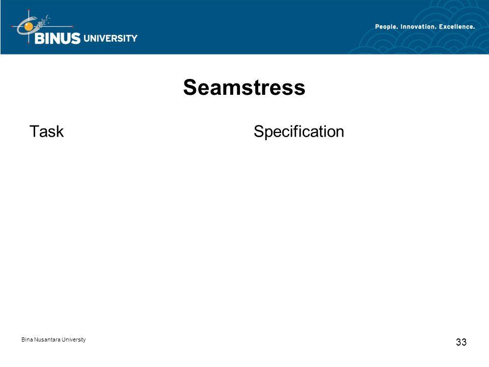 Bina Nusantara University 33 Seamstress TaskSpecification