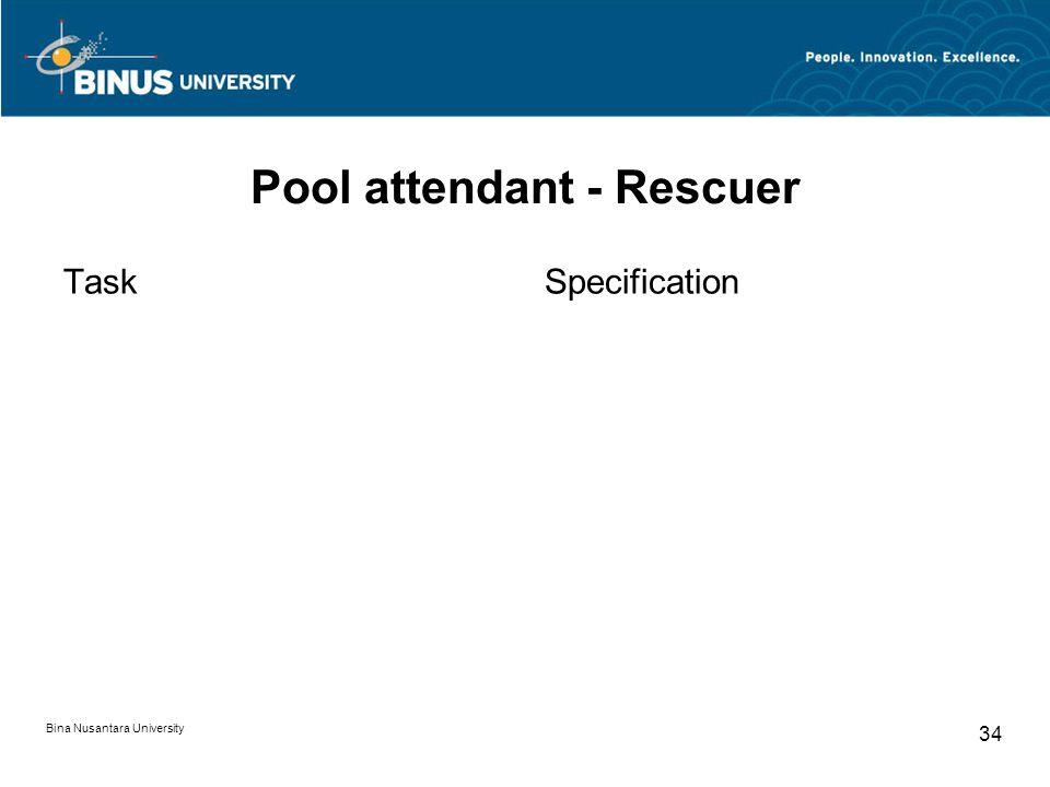 Bina Nusantara University 34 Pool attendant - Rescuer TaskSpecification