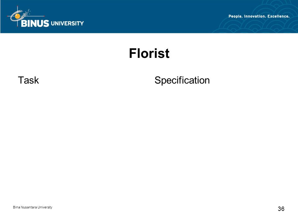 Bina Nusantara University 36 Florist TaskSpecification