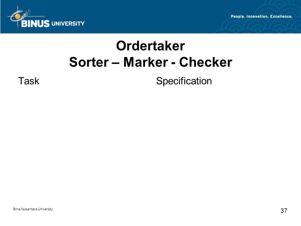 Bina Nusantara University 37 Ordertaker Sorter – Marker - Checker TaskSpecification