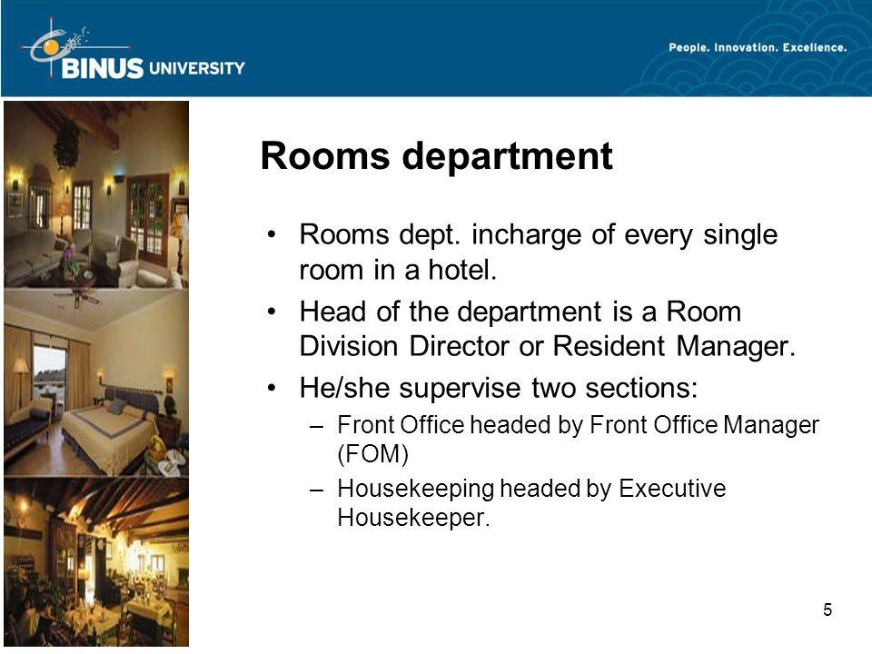 Bina Nusantara University 5 Rooms department Rooms dept.