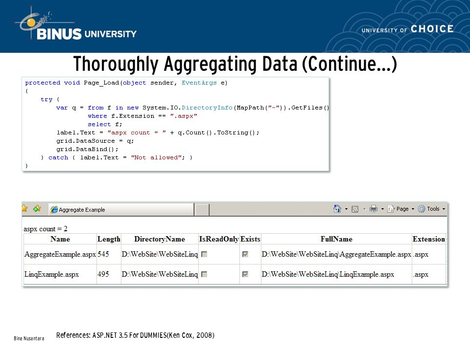 Thoroughly Aggregating Data (Continue…) Bina Nusantara References: ASP.NET 3.5 For DUMMIES(Ken Cox, 2008)
