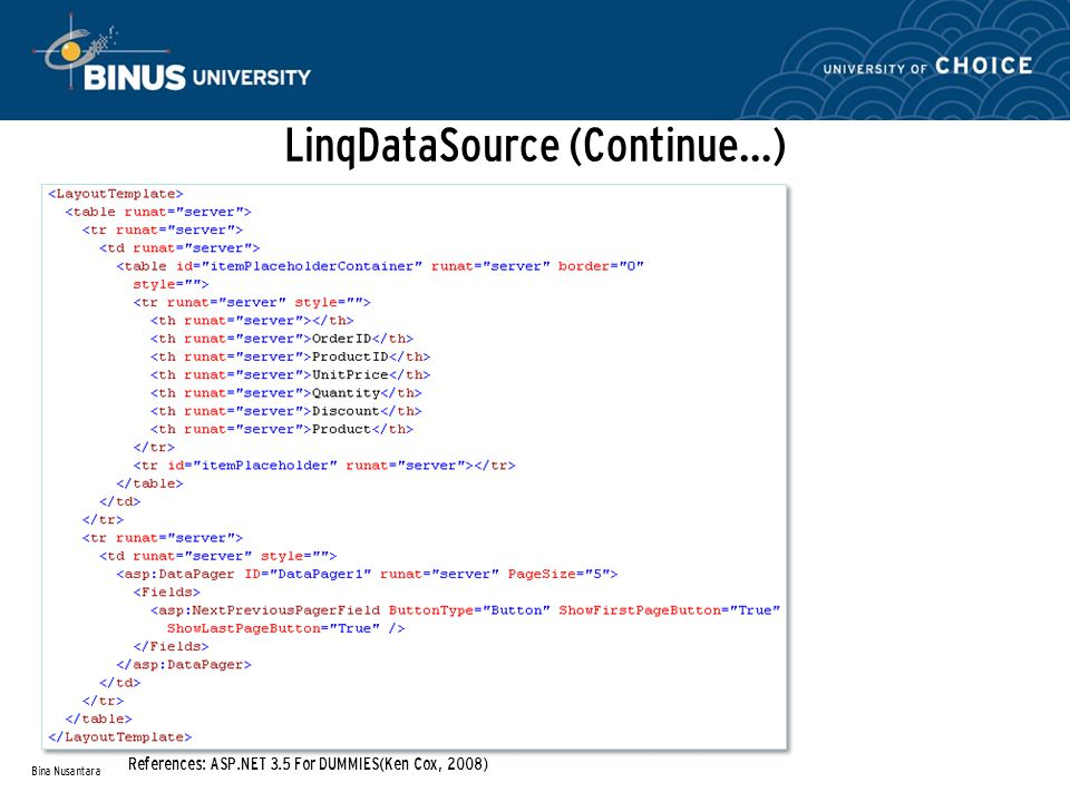 LinqDataSource (Continue…) Bina Nusantara References: ASP.NET 3.5 For DUMMIES(Ken Cox, 2008)