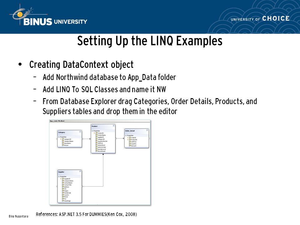 Setting Up the LINQ Examples Creating DataContext object – Add Northwind database to App_Data folder – Add LINQ To SQL Classes and name it NW – From Database Explorer drag Categories, Order Details, Products, and Suppliers tables and drop them in the editor Bina Nusantara References: ASP.NET 3.5 For DUMMIES(Ken Cox, 2008)