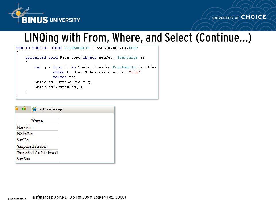 Inserting data with the DataContext Bina Nusantara References: ASP.NET 3.5 For DUMMIES(Ken Cox, 2008)