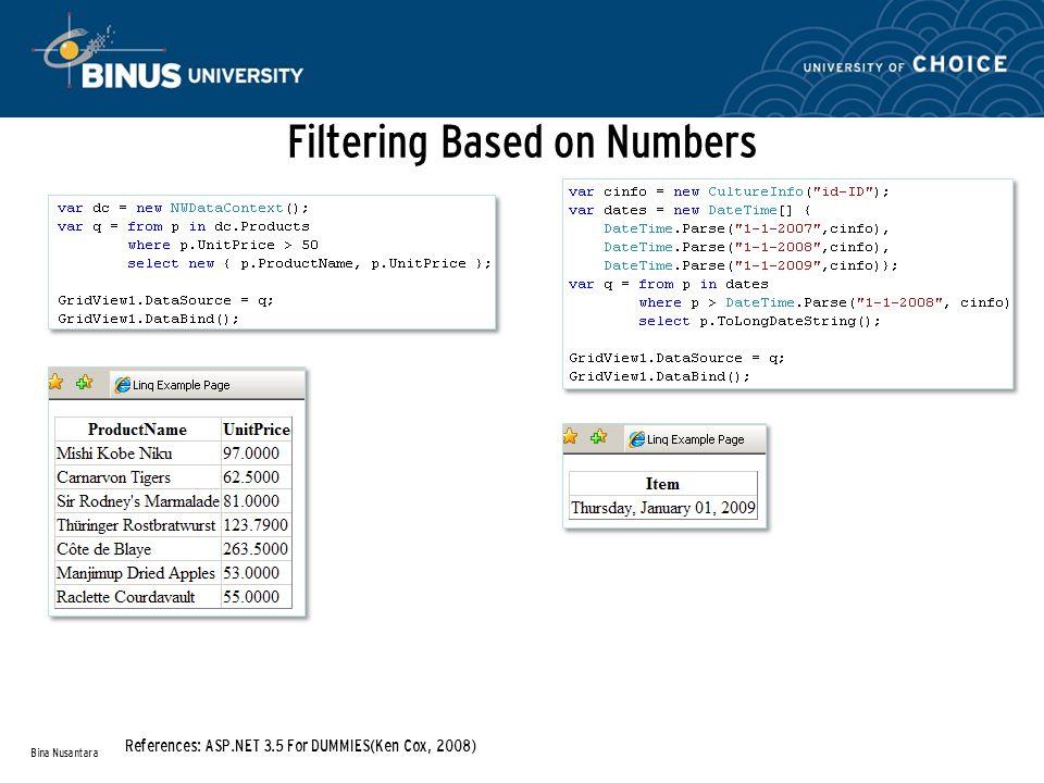 Thoroughly Aggregating Data Bina Nusantara References: ASP.NET 3.5 For DUMMIES(Ken Cox, 2008)