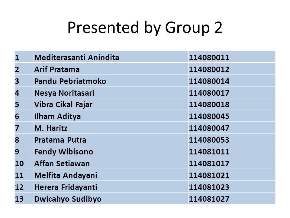 Presented by Group 2 1Mediterasanti Anindita114080011 2Arif Pratama114080012 3Pandu Pebriatmoko114080014 4Nesya Noritasari114080017 5Vibra Cikal Fajar