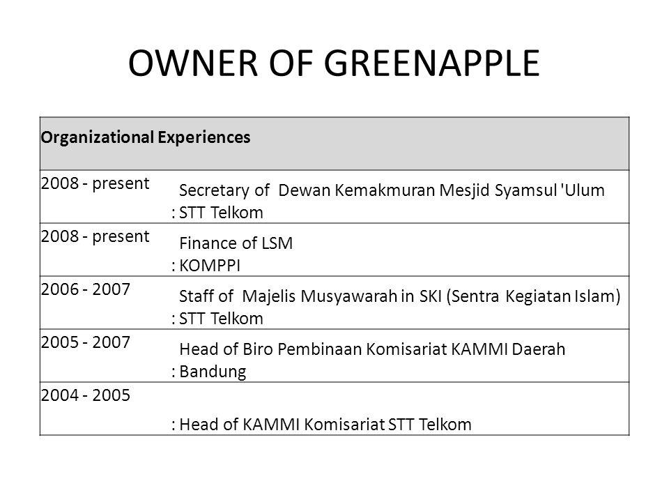 OWNER OF GREENAPPLE Organizational Experiences 2008 - present : Secretary of Dewan Kemakmuran Mesjid Syamsul 'Ulum STT Telkom 2008 - present : Finance