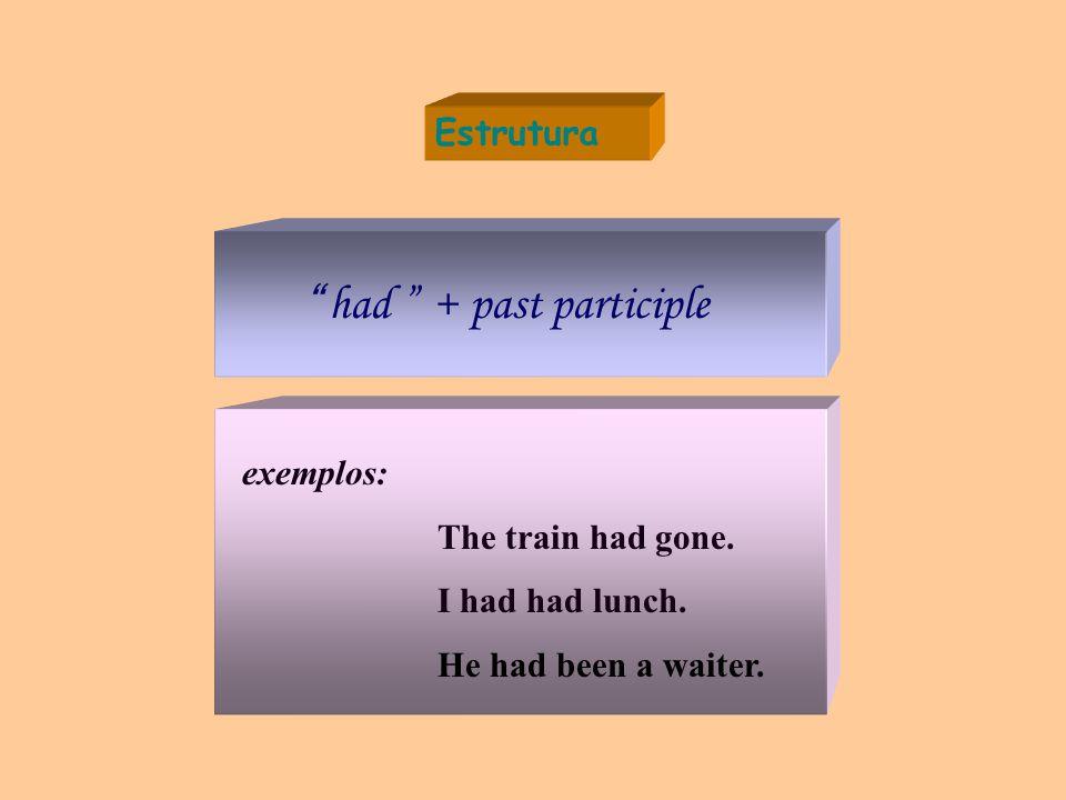 Estrutura had + past participle exemplos: The train had gone.