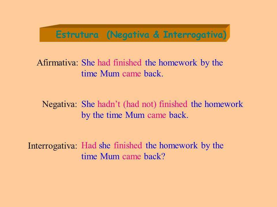 Estrutura (Negativa & Interrogativa) Negativa: She hadn't (had not) finished the homework by the time Mum came back.