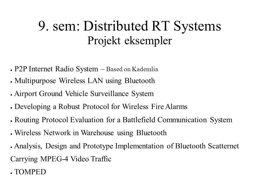 9. sem: Distributed RT Systems Projekt eksempler ● P2P Internet Radio System – Based on Kademlia ● Multipurpose Wireless LAN using Bluetooth ● Airport