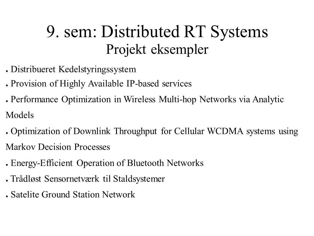 9. sem: Distributed RT Systems Projekt eksempler ● Distribueret Kedelstyringssystem ● Provision of Highly Available IP-based services ● Performance Op