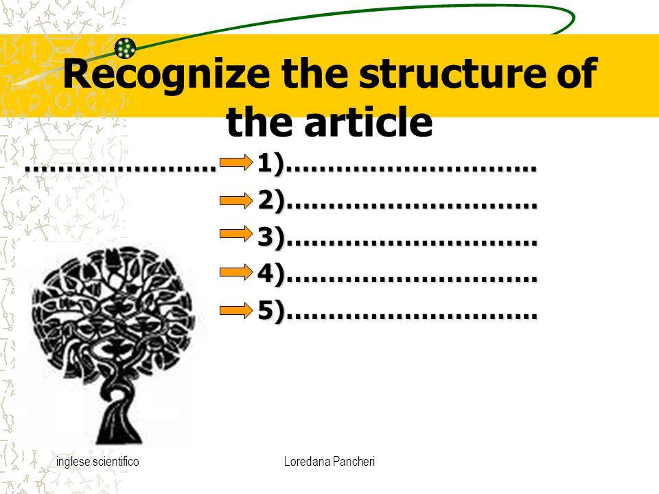 inglese scientificoLoredana Pancheri Recognize the structure of the article …………………..