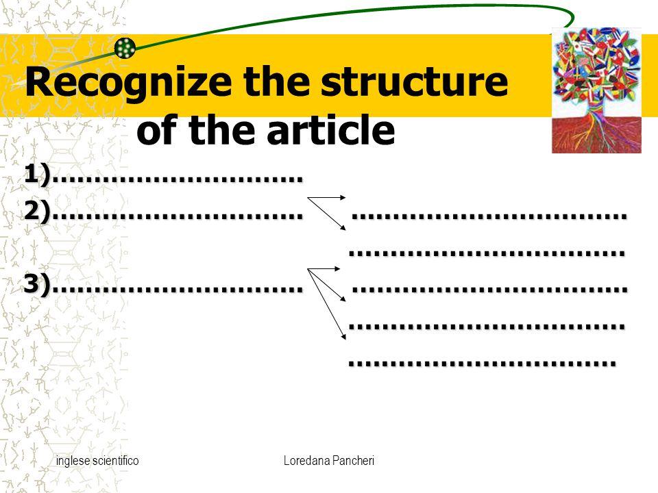 inglese scientificoLoredana Pancheri Recognize the structure of the article 1)….……………………..