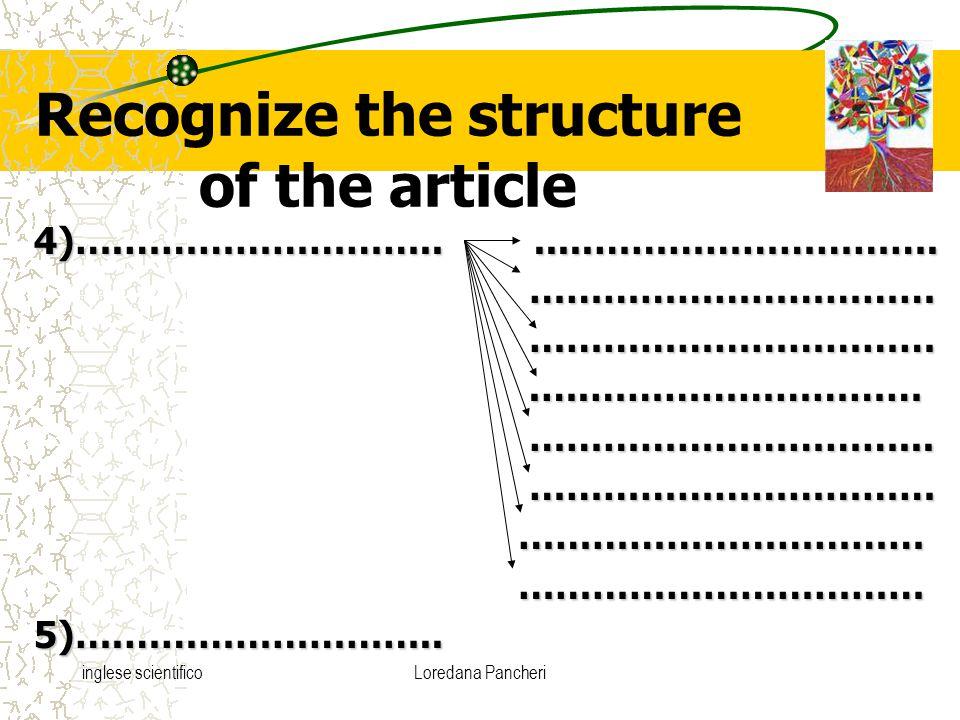 inglese scientificoLoredana Pancheri Recognize the structure of the article 4)….…………………….......……………………….