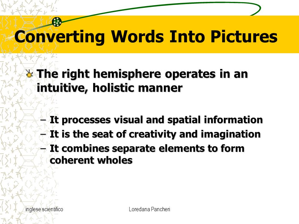 inglese scientificoLoredana Pancheri Converting Words Into Pictures The right hemisphere operates in an intuitive, holistic manner –It processes visua