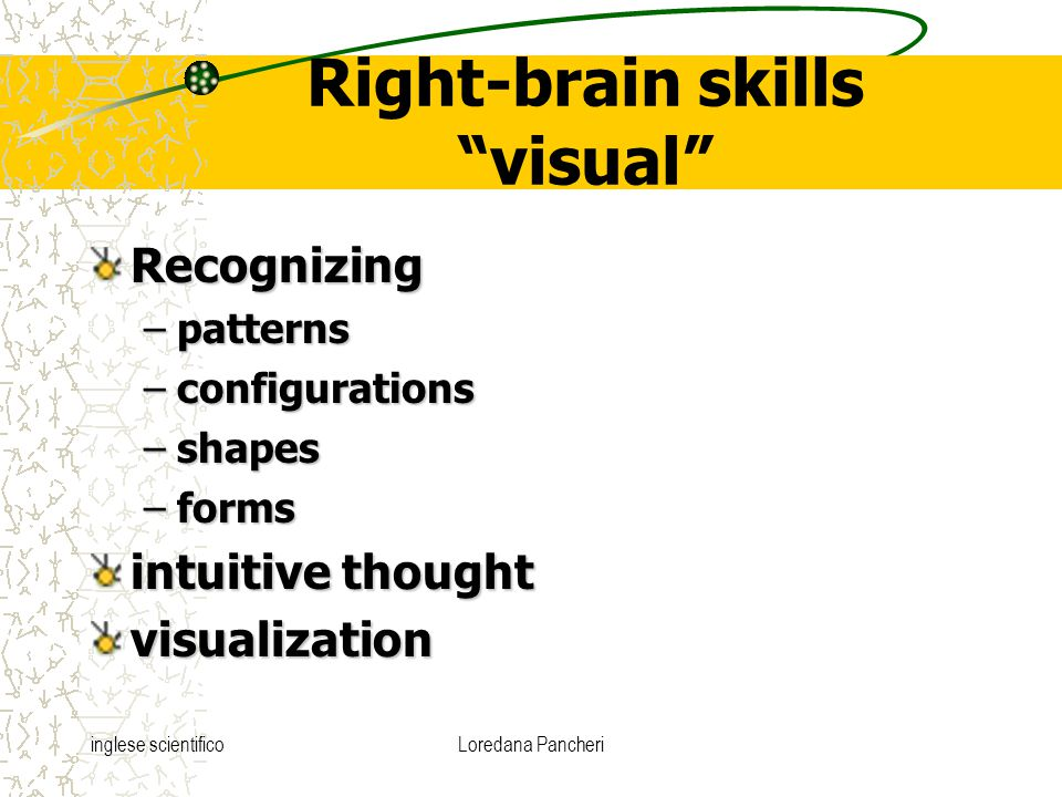 "inglese scientificoLoredana Pancheri Right-brain skills ""visual"" Recognizing –patterns –configurations –shapes –forms intuitive thought visualization"