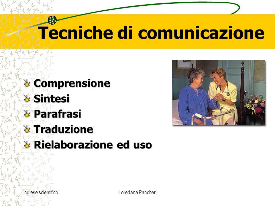 inglese scientificoLoredana Pancheri Tecniche di comunicazione ComprensioneSintesiParafrasiTraduzione Rielaborazione ed uso