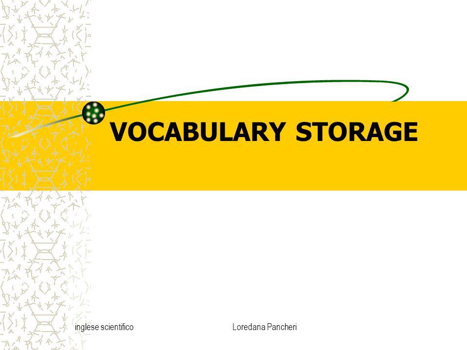 inglese scientificoLoredana Pancheri VOCABULARY STORAGE