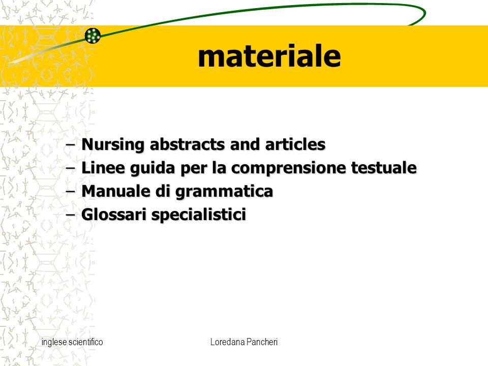 inglese scientificoLoredana Pancheri materiale –Nursing abstracts and articles –Linee guida per la comprensione testuale –Manuale di grammatica –Glossari specialistici