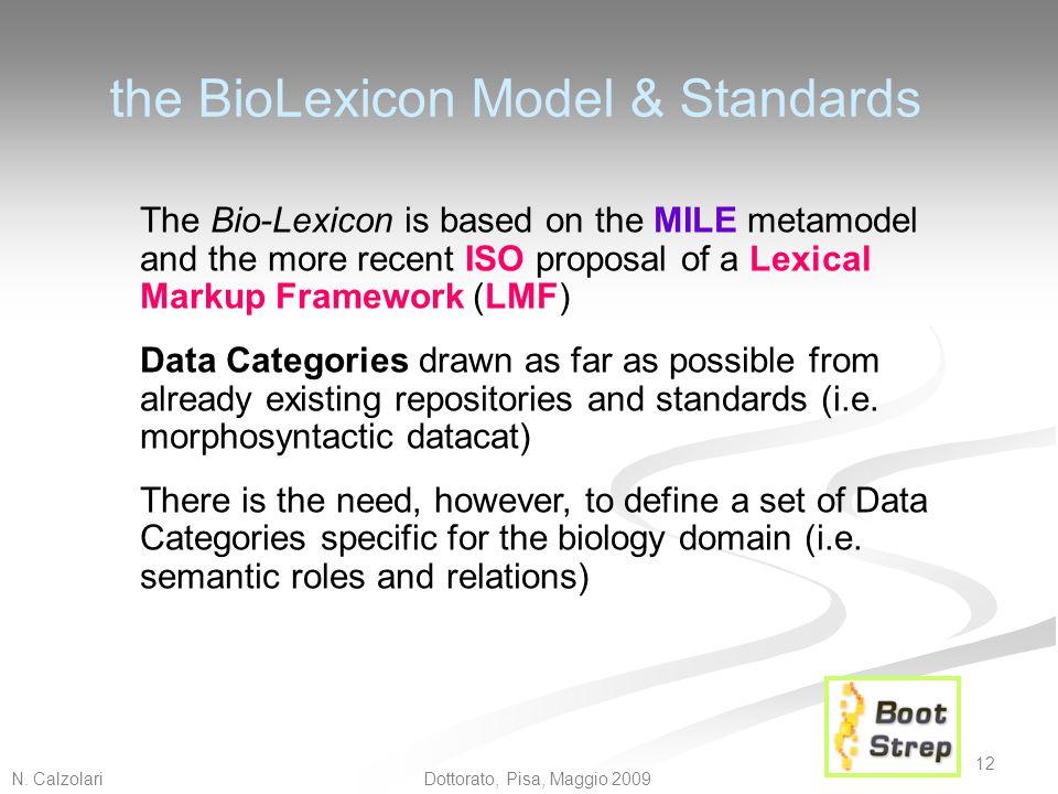 N. Calzolari 12 Dottorato, Pisa, Maggio 2009 the BioLexicon Model & Standards The Bio-Lexicon is based on the MILE metamodel and the more recent ISO p