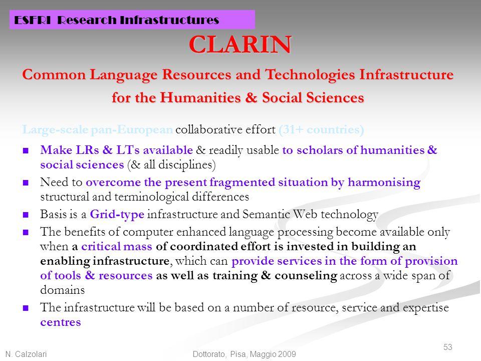 N. Calzolari 53 Dottorato, Pisa, Maggio 2009 CLARIN Large-scale pan-European collaborative effort (31+ countries) Make LRs & LTs available & readily u