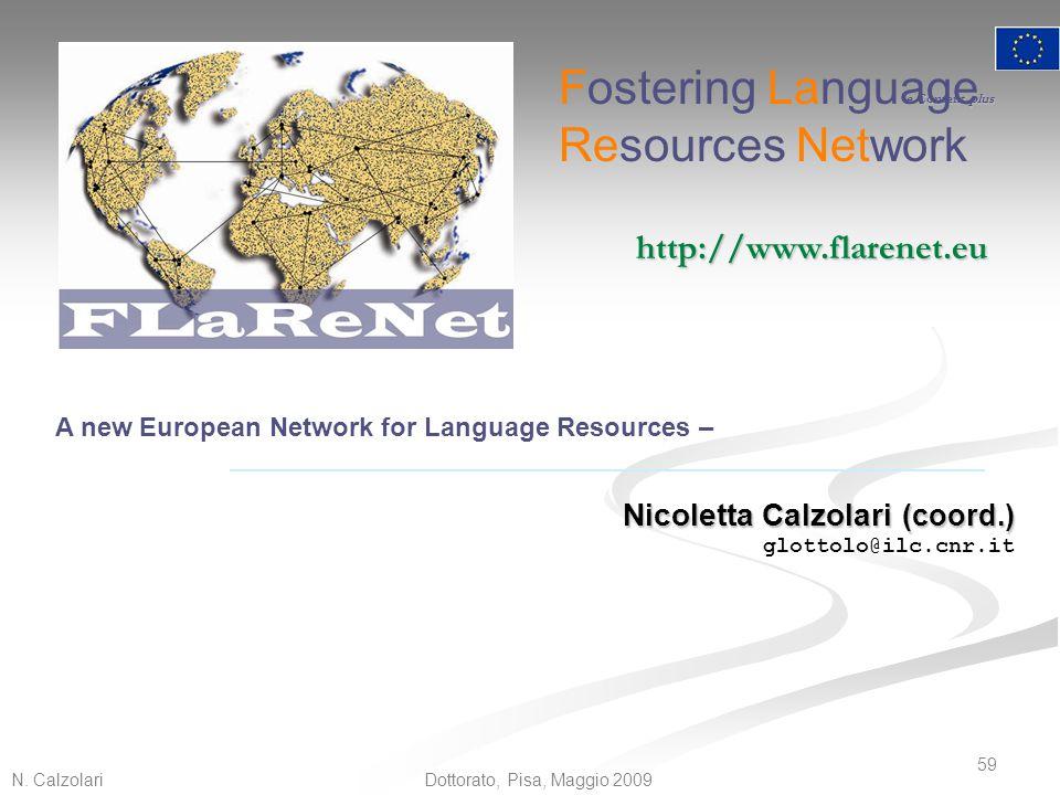 N. Calzolari 59 Dottorato, Pisa, Maggio 2009 e Content plus A new European Network for Language Resources – Nicoletta Calzolari (coord.) glottolo@ilc.