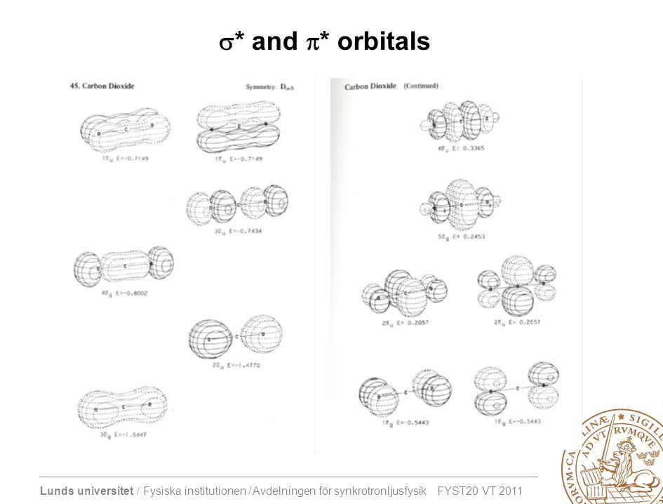 Lunds universitet / Fysiska institutionen / Avdelningen för synkrotronljusfysik FYST20 VT 2011  * and  * orbitals