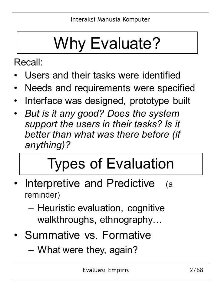Interaksi Manusia Komputer Evaluasi Empiris2/68 Why Evaluate? Recall: Users and their tasks were identified Needs and requirements were specified Inte