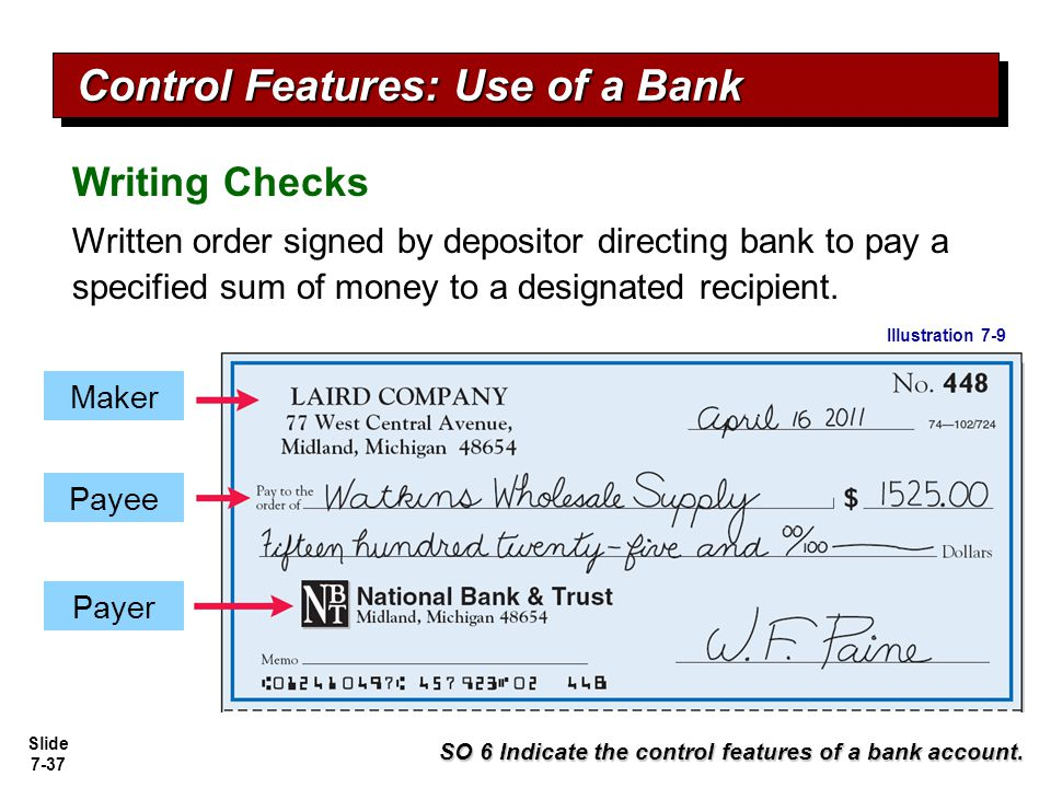 Slide 7-38 Bank Statements Debit Memorandum Bank service charge NSF (not sufficient funds) SO 6 Indicate the control features of a bank account.