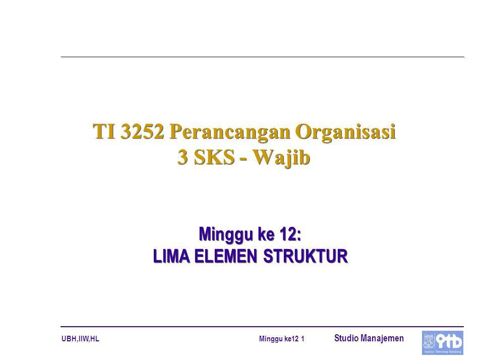 UBH,IIW,HL Studio Manajemen Minggu ke12 12 KARAKTERISTIK ORGANISASI (2)