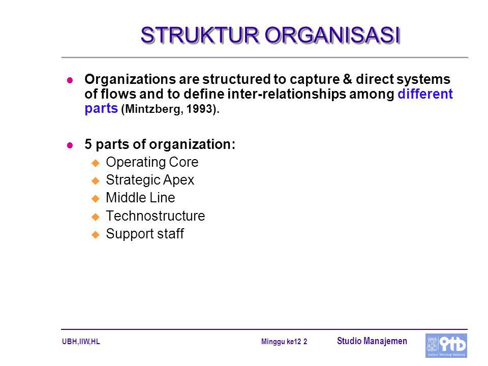 UBH,IIW,HL Studio Manajemen Minggu ke12 3 FIVE BASIC PARTS OF THE ORGANIZATION (1)