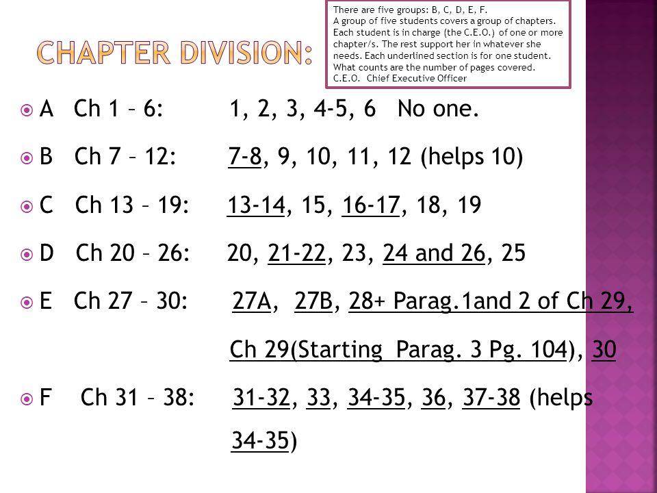  A Ch 1 – 6: 1, 2, 3, 4-5, 6 No one.