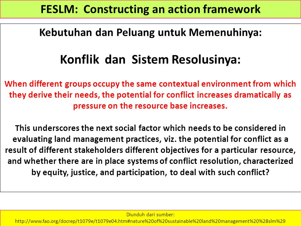 Kebutuhan dan Peluang untuk Memenuhinya: Konflik dan Sistem Resolusinya: When different groups occupy the same contextual environment from which they