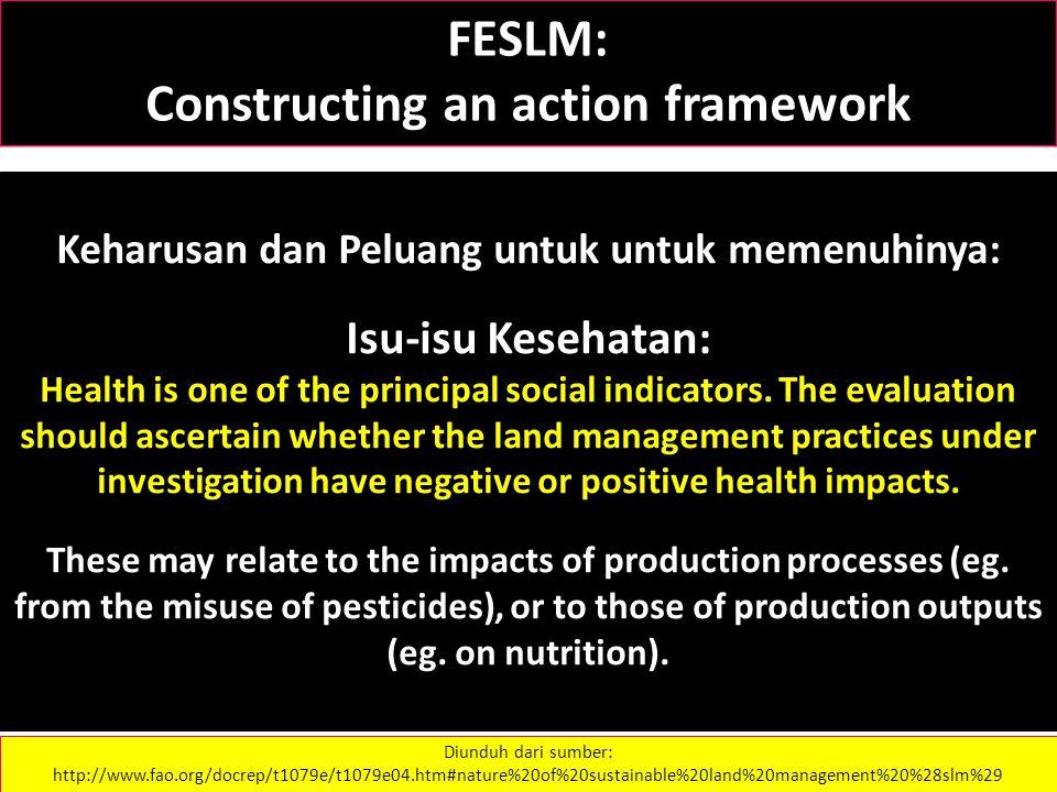 FESLM: Constructing an action framework Keharusan dan Peluang untuk untuk memenuhinya: Isu-isu Kesehatan: Health is one of the principal social indicators.
