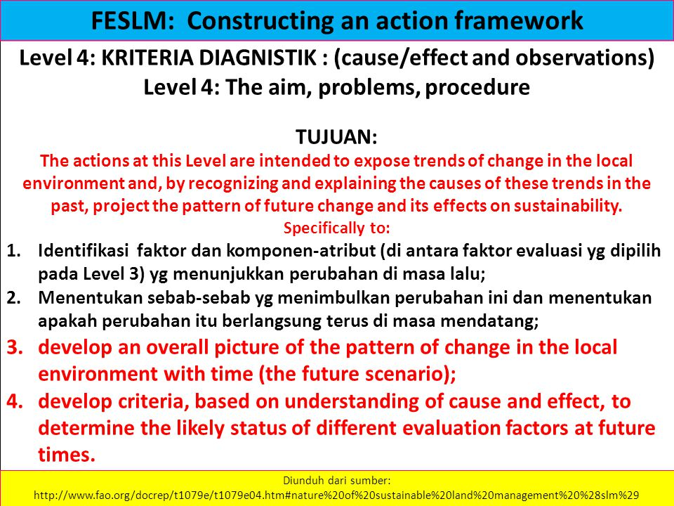 Level 4: KRITERIA DIAGNISTIK : (cause/effect and observations) Level 4: The aim, problems, procedure TUJUAN: The actions at this Level are intended to