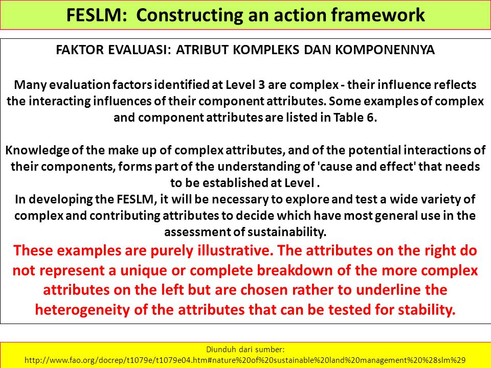 FAKTOR EVALUASI: ATRIBUT KOMPLEKS DAN KOMPONENNYA Many evaluation factors identified at Level 3 are complex - their influence reflects the interacting