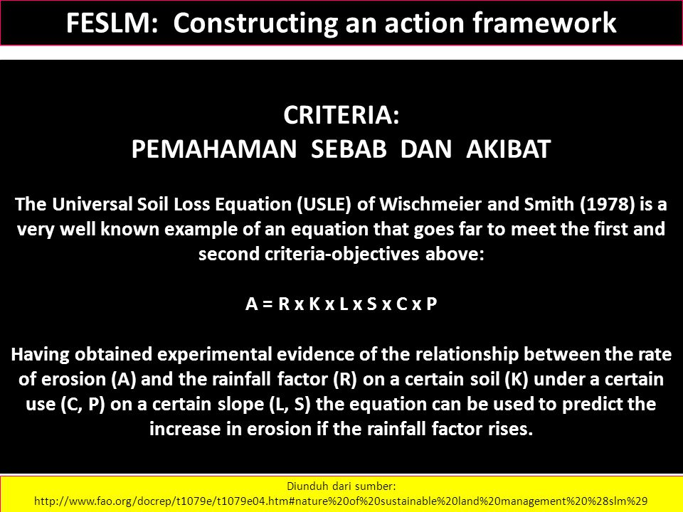 CRITERIA: PEMAHAMAN SEBAB DAN AKIBAT The Universal Soil Loss Equation (USLE) of Wischmeier and Smith (1978) is a very well known example of an equatio